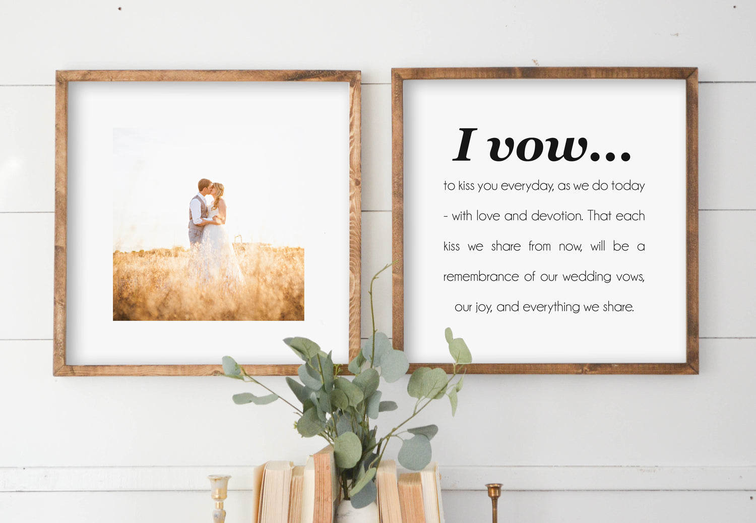 I Vow Custom Wedding Photo Wood Framed Sign