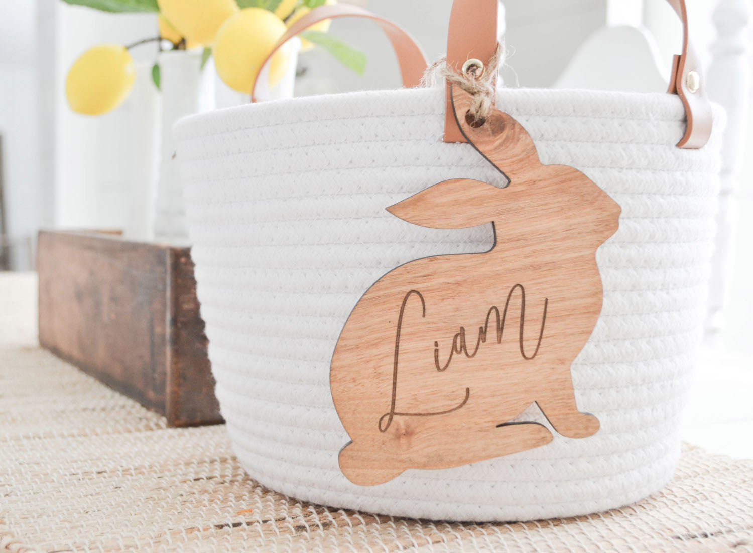 Personalized Wood Bunny Tag