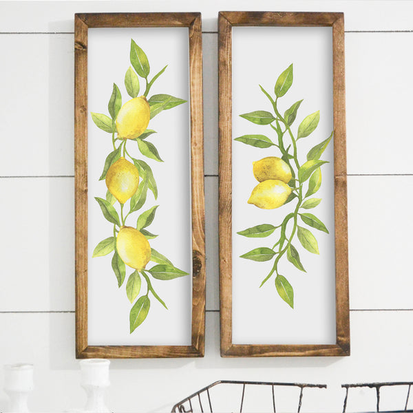Lemon Wood Framed Sign SET