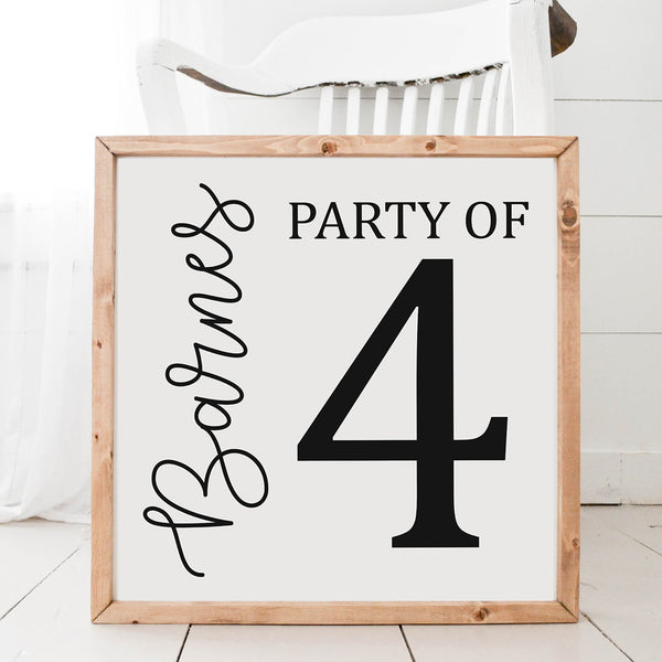 Party of Sign Last Name Wood Framed Sign
