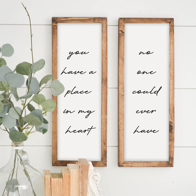 Wood Framed Sign Duo Place in my Heart