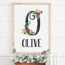 Baby Floral Initial Name Wood Framed Sign