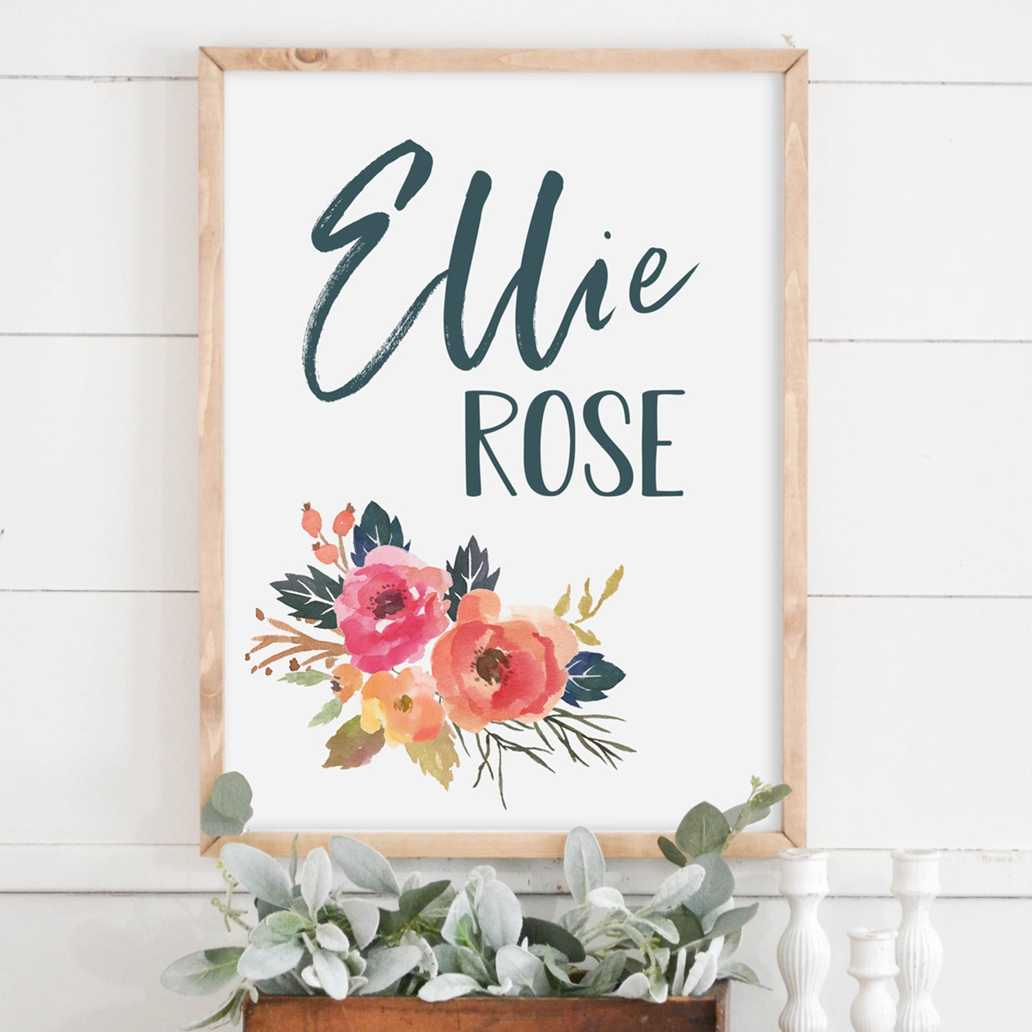 Watercolor Floral Name Wood Framed Sign