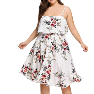 Plus Size Fashion Women Floral Printed Strappy Sleeveless Casual Beach Dress