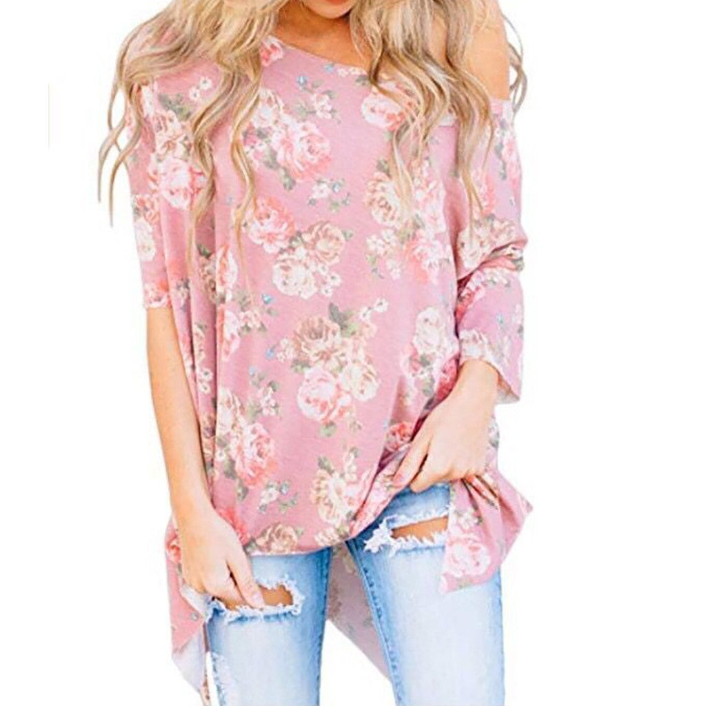 Fashion Womens Sexy Plus Size O-Neck Print Long Sleeves  Shirt  Blouse Tops