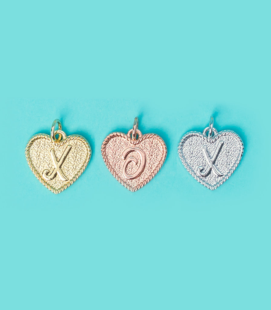 (Y) Heart Initial Charm in Three Finishes