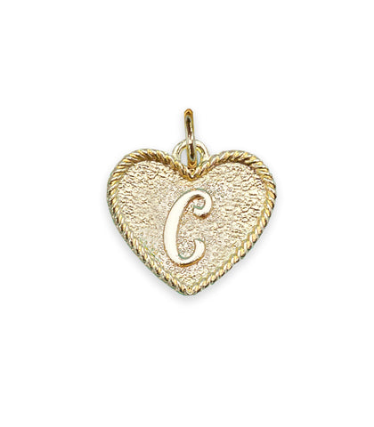(C) Heart Initial Charm in Three Finishes
