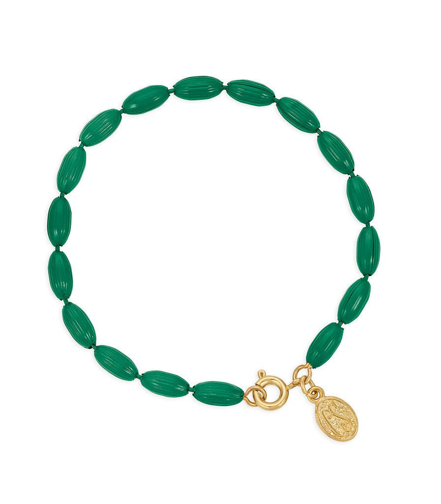 Charleston Rice Bead Bracelet (Kelly Green)