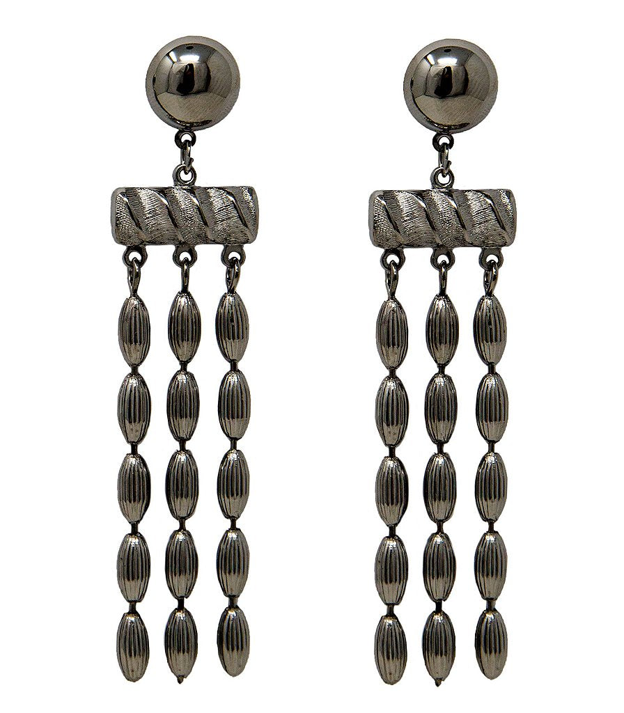 Three Strand Rice Bead Earrings (Gunmetal)