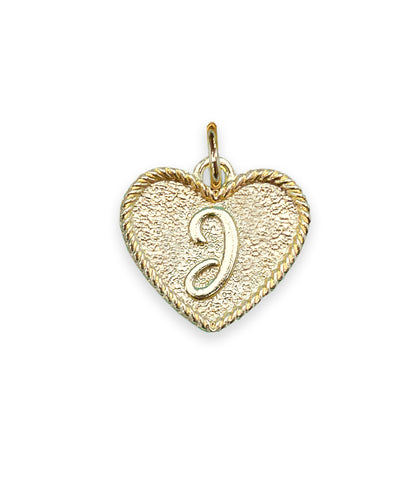 (J) Heart Initial Charm in Three Finishes
