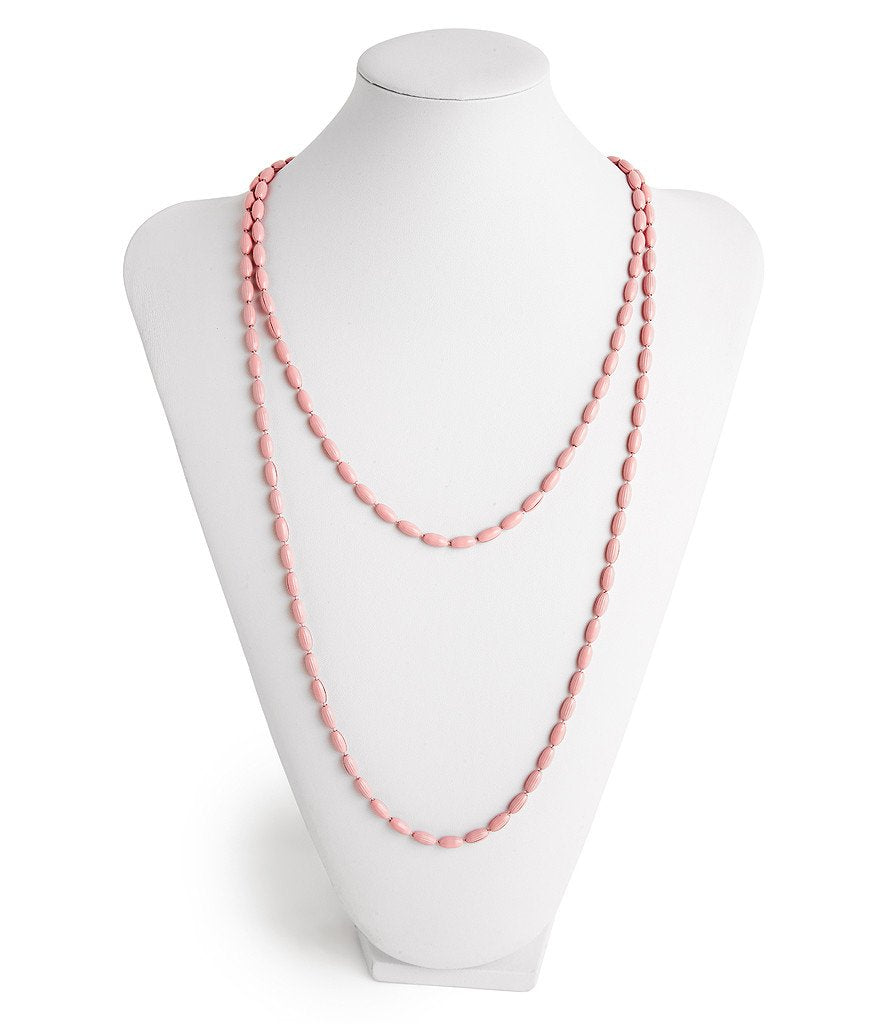 Charleston Rice Bead Necklace Rose Quartz