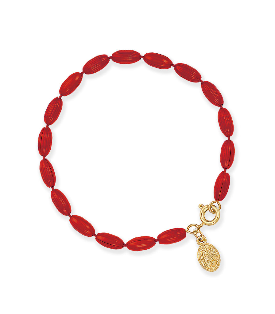 Charleston Rice Bead Bracelet (Ruby Red)