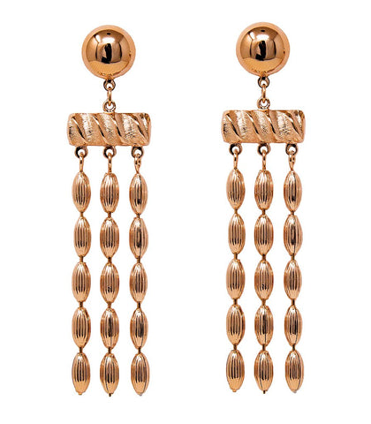 Three Strand Rice Bead Earrings (Rose Gold)