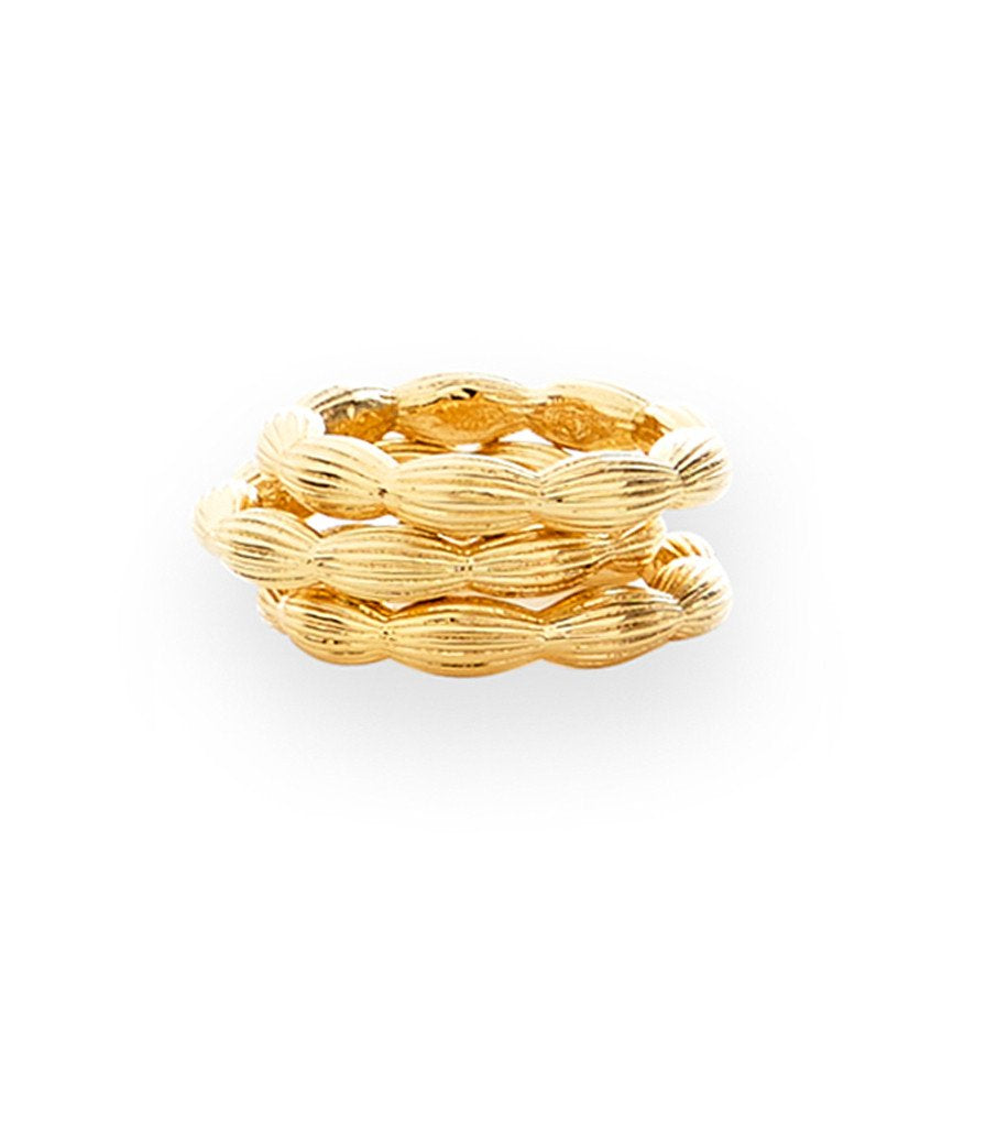 Charleston Rice Bead stackable Ring in shiny gold