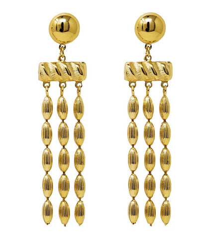 Three Strand Rice Bead Earrings (Shiny Gold)