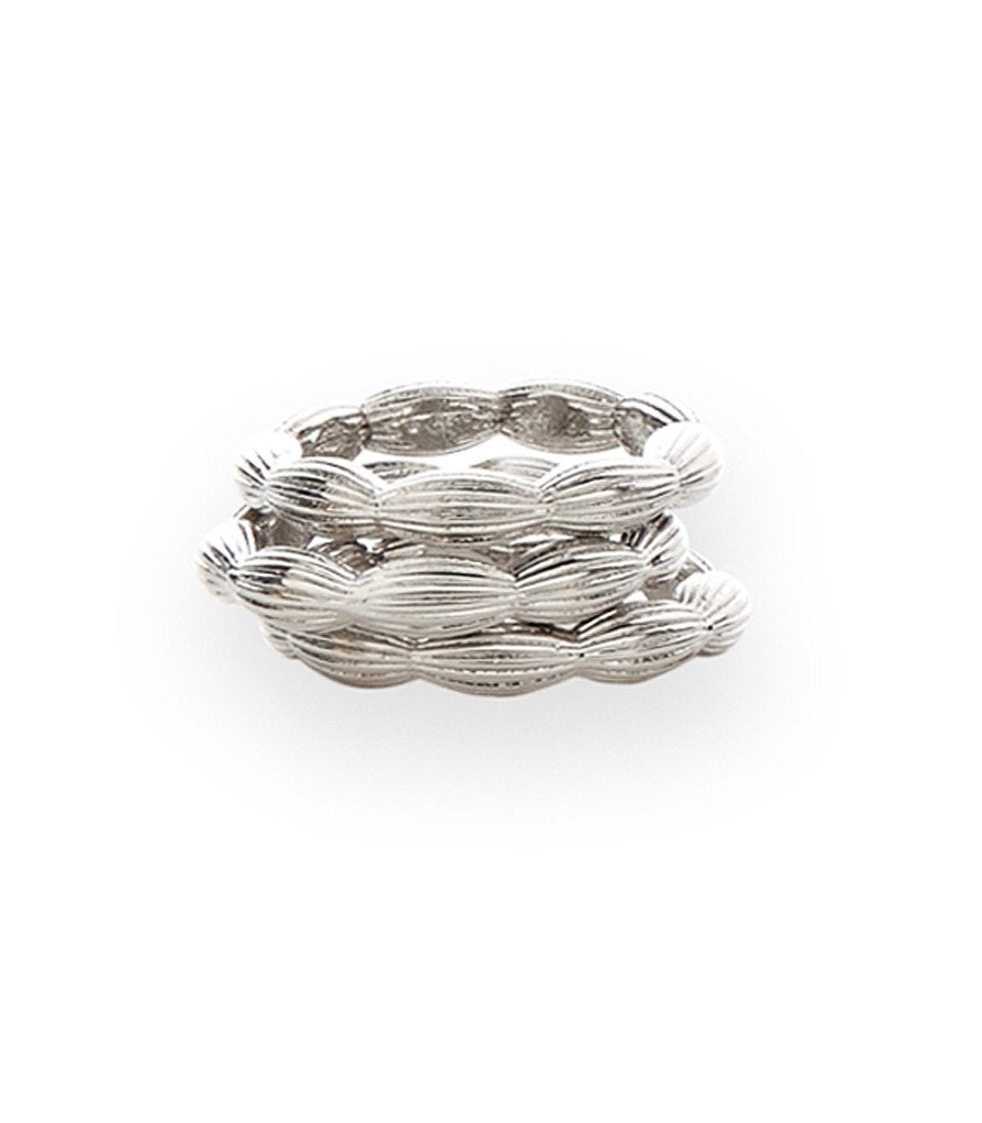Charleston Rice Bead stackable Ring in shiny silver
