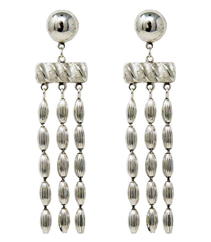 Three Strand Earrings (Shiny Silver)