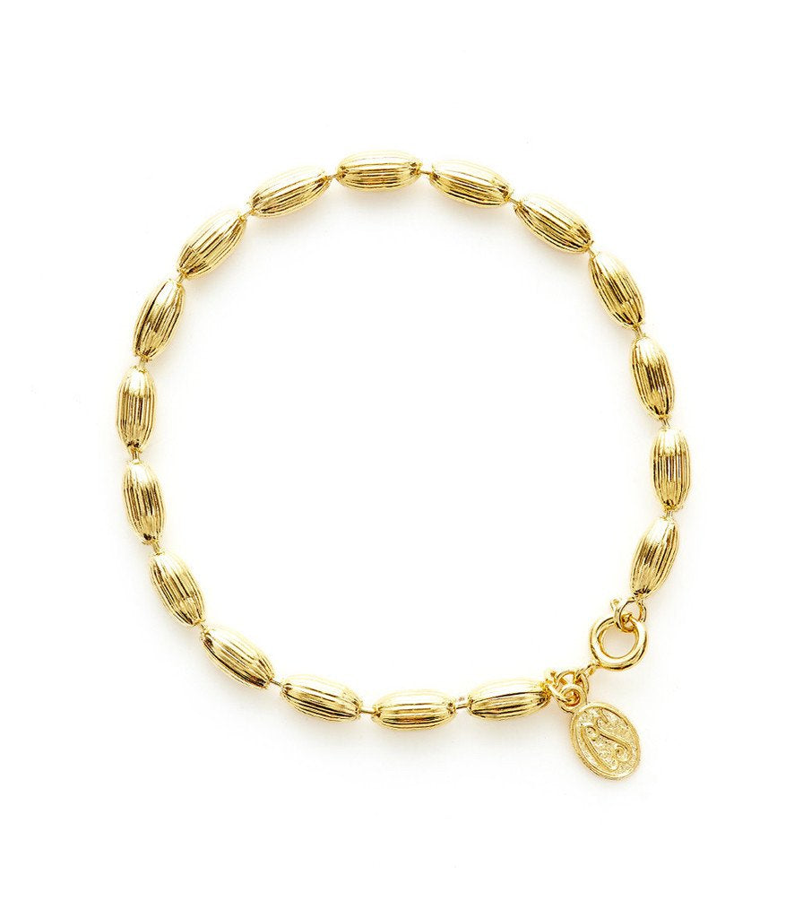 Charleston Rice Bead Bracelet Shiny Gold