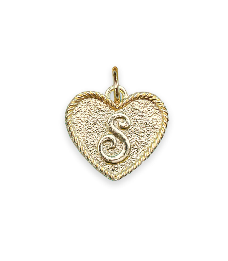 (S) Heart Initial Charm in Three Finishes