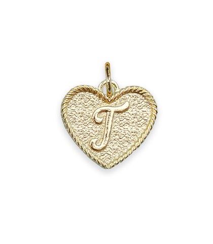 (T) Heart Initial Charm in Three Finishes