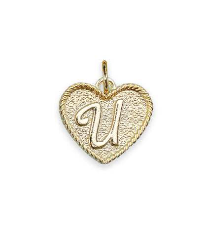 (U) Heart Initial Charm in Three Finishes