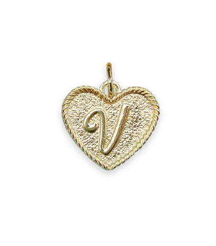 (V) Heart Initial Charm in Three Finishes