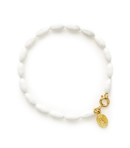 Charleston Rice Bead Bracelet Summer White