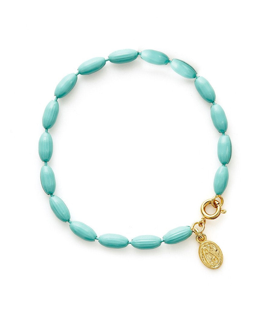 Charleston Rice Bead Bracelet Robin's Egg
