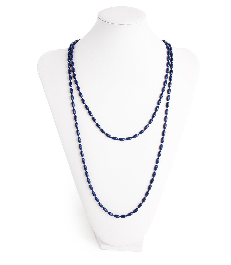 Charleston Rice Bead Necklace True Navy