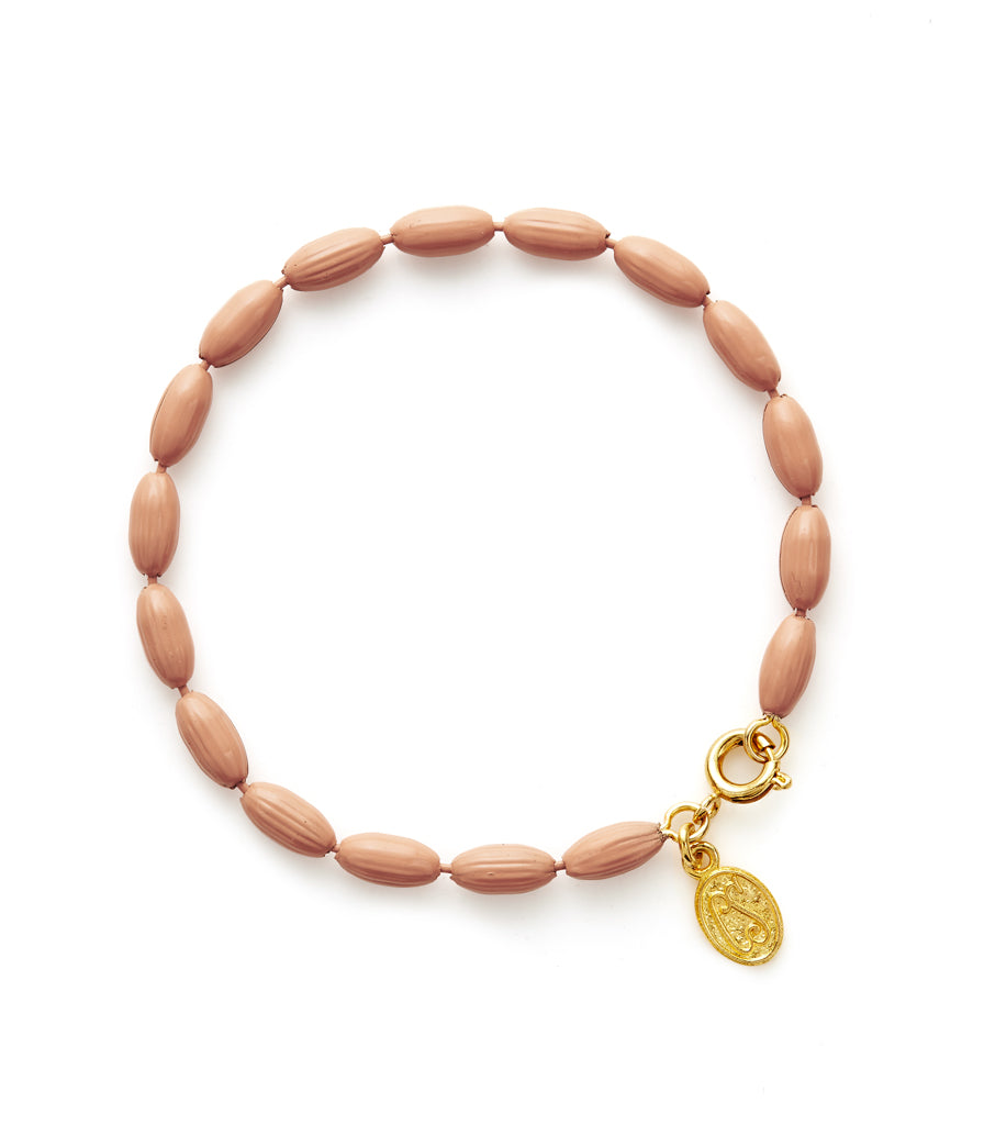 Charleston Rice Bead Bracelet (Charleston Peach)