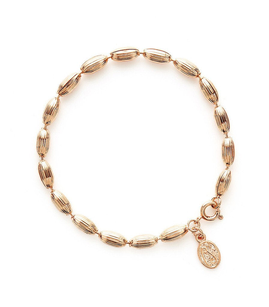 Charleston Rice Bead Bracelet Rose Gold