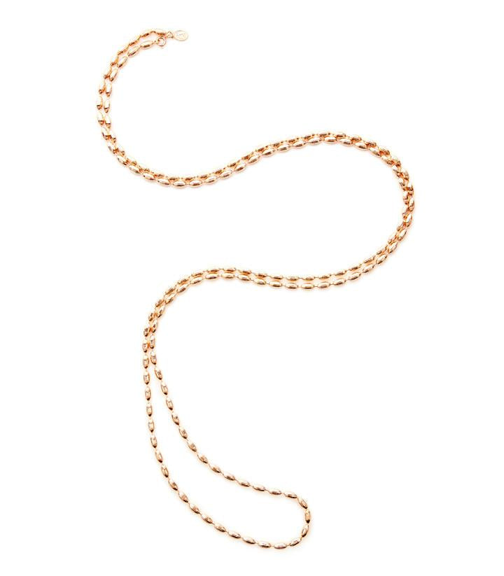 Charleston Rice Bead Necklace Rose Gold