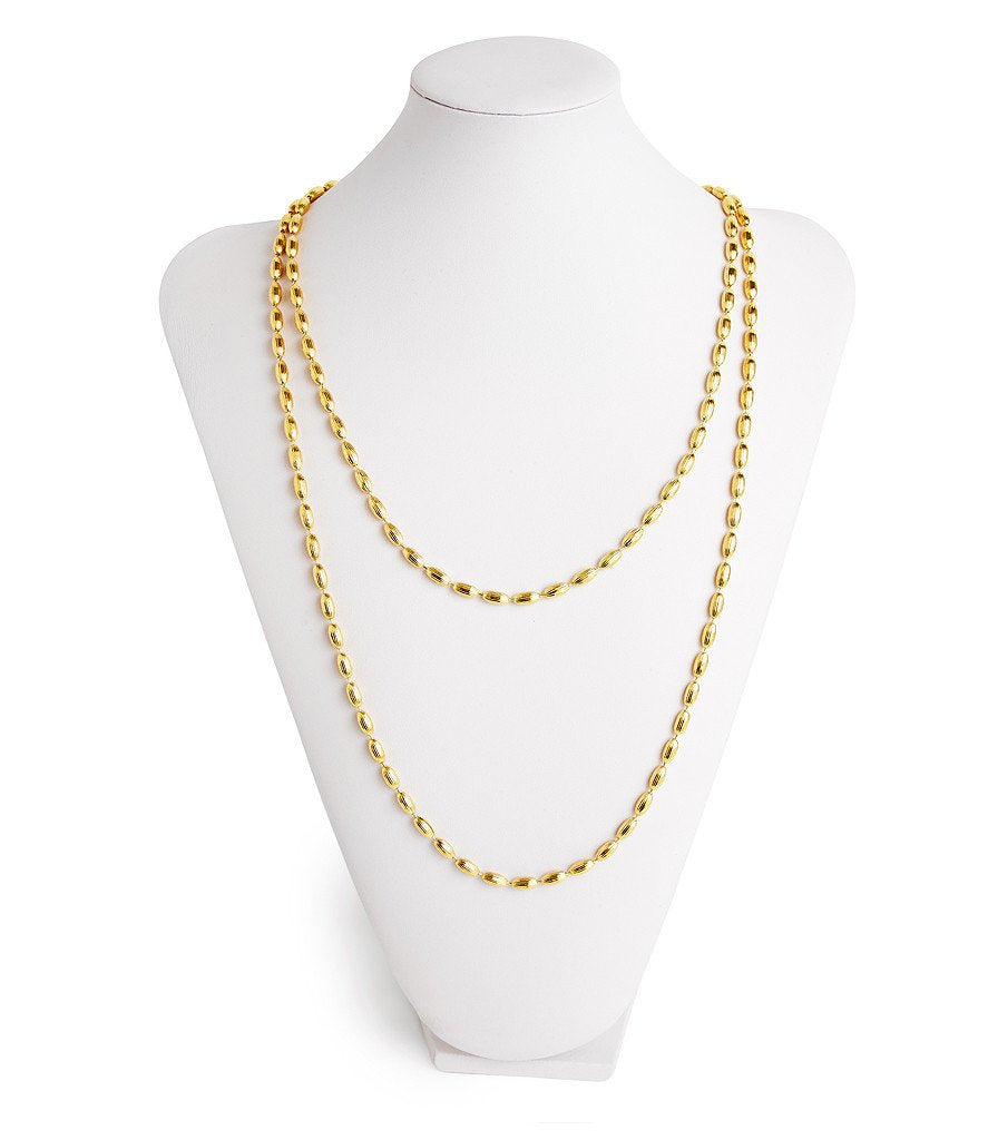 Charleston Rice Bead Necklace Shiny Gold
