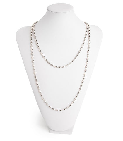 Charleston Rice Bead Necklace Shiny Silver