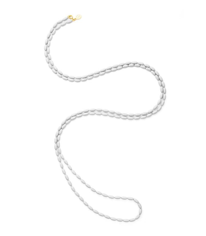Charleston Rice Bead Necklace Summer White