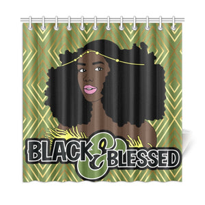 Black & Blessed Shower Curtain
