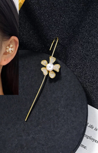 Load image into Gallery viewer, Gold Flower Pearl & CZ Ear Cuff Earring