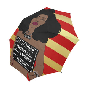 Protect All Black Women Shower Curtain Umbrella