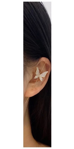 Gold CZ Crystal Butterfly Ear Hook Earring