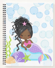 Load image into Gallery viewer, Cocoa Mermaid W/Ponytail Spiral Notebook
