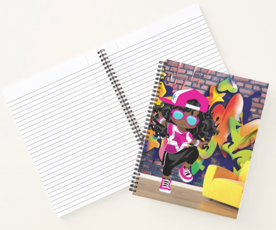 Hip Hop Girl Spiral Notebook 1