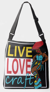 Live Love Craft Crossbody Tote Bag