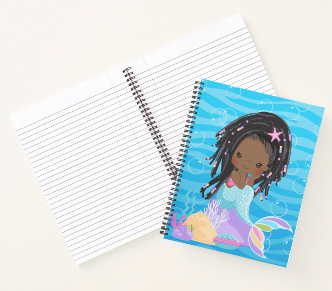 Cocoa  Mermaid W/Locs Spiral Notebook