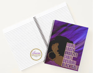 Noire Bronze Ebony Sable Obsidian Black Gold Spiral Notebook