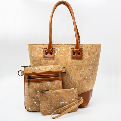 Cork Handbag + Bodycrooss + Purse - Set of Three Bags Natural Cork Fabric Handbag Cork Leather Women Bags Eco friendly
