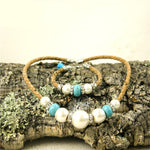 Necklace and Bracelet Jewelry Set made in Cork in Azure with Tassel Handmade Jewelry Set Natural Cork Set Eco-friendly