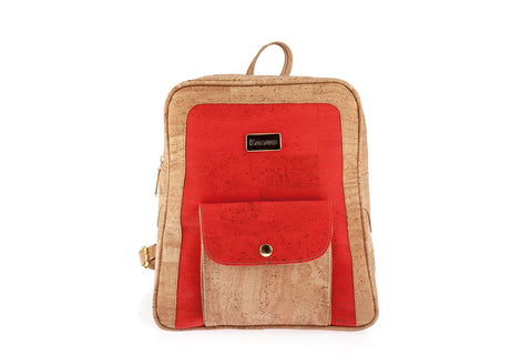 Cork Backpack Cork Handbag Vegan Leather Purse Cork Fabric Eco Friendly Bag in Natural Color with Red