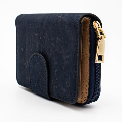 Cork Wallet Vegan Wallet Coin Purse Vegan Leather Natural Cork Fabric Card Holder Cork Bag Womens Wallet Vegan Gift in Blue