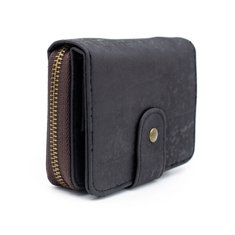 Cork Wallet Vegan Wallet Coin Purse Vegan Leather Natural Cork Fabric Card Holder Cork Bag Womens Wallet Vegan Gift in Black