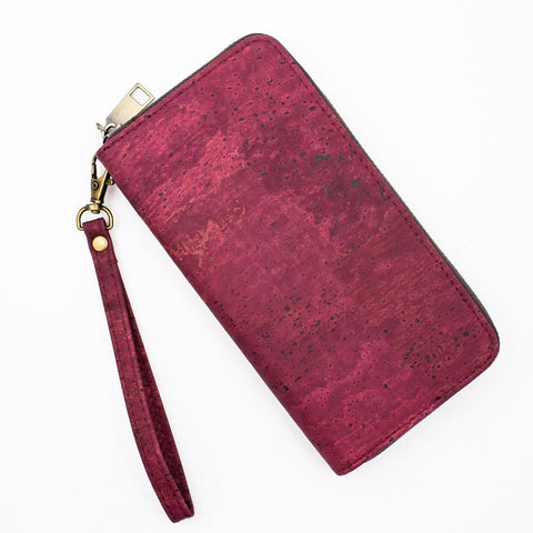 Cork Wallet Vegan Wallet Coin Purse Vegan Leather Cork Fabric Cork Bag Womens Wallet Vegan Gift Natural in Red Wine